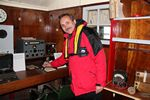WB0JNR at the Morse code key in Port Lockroy, Antarctica - 01-30-2011