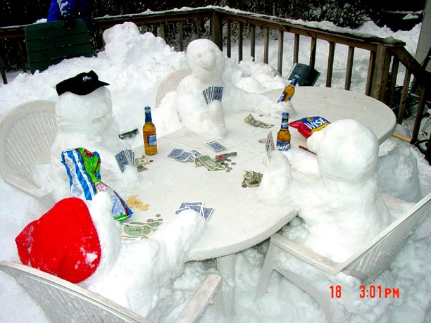 Snowmen Playing Poker by Jon Tater and his children - Commack, NY 2003/04